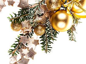 Fotos Neujahr Weißer hintergrund Ast Kugeln Kleine Sterne