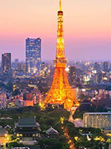 Bilder Japan Präfektur Tokio Haus Wolkenkratzer Abend Türme