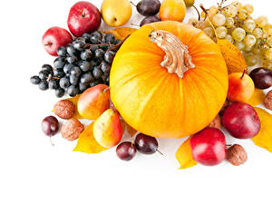 Images Pumpkin Apples Pears Grapes Plums Nuts White background