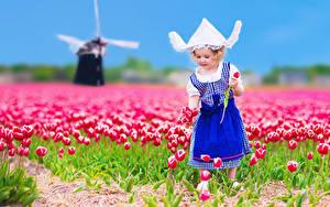 Bilder Acker Tulpen Kleine Mädchen Kleid Der Hut Kinder