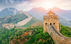 Sfondi desktop Cina Grande muraglia cinese Montagna Foreste Natura