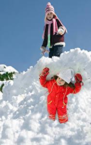 Photo Winter Snow Little girls Two Smile Winter hat Glove Children