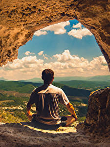 Hintergrundbilder Mann Höhle Hinten Sitzen Natur