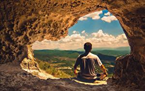 Hintergrundbilder Mann Höhle Hinten Sitzend Natur