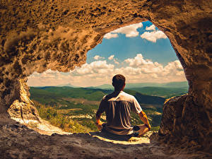 Wallpapers Men Cave Back view Sitting Nature