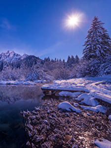 Bilder Slowenien Winter See Schnee Sonne Fichten Zelenci