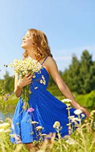 Bilder Sträuße Kamillen Blondine Kleid Lächeln junge Frauen