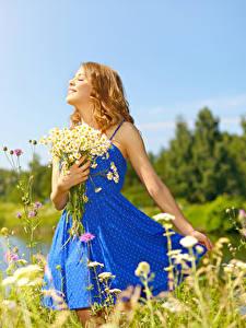 Bilder Sträuße Kamillen Blondine Kleid Lächeln Mädchens