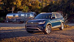 Hintergrundbilder Volkswagen Blau Crossover Metallisch 2021 Atlas V6 auto