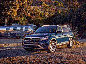 Bureaubladachtergronden Volkswagen Blauw kleur Cross-over auto Metallic 2021 Atlas V6 auto's