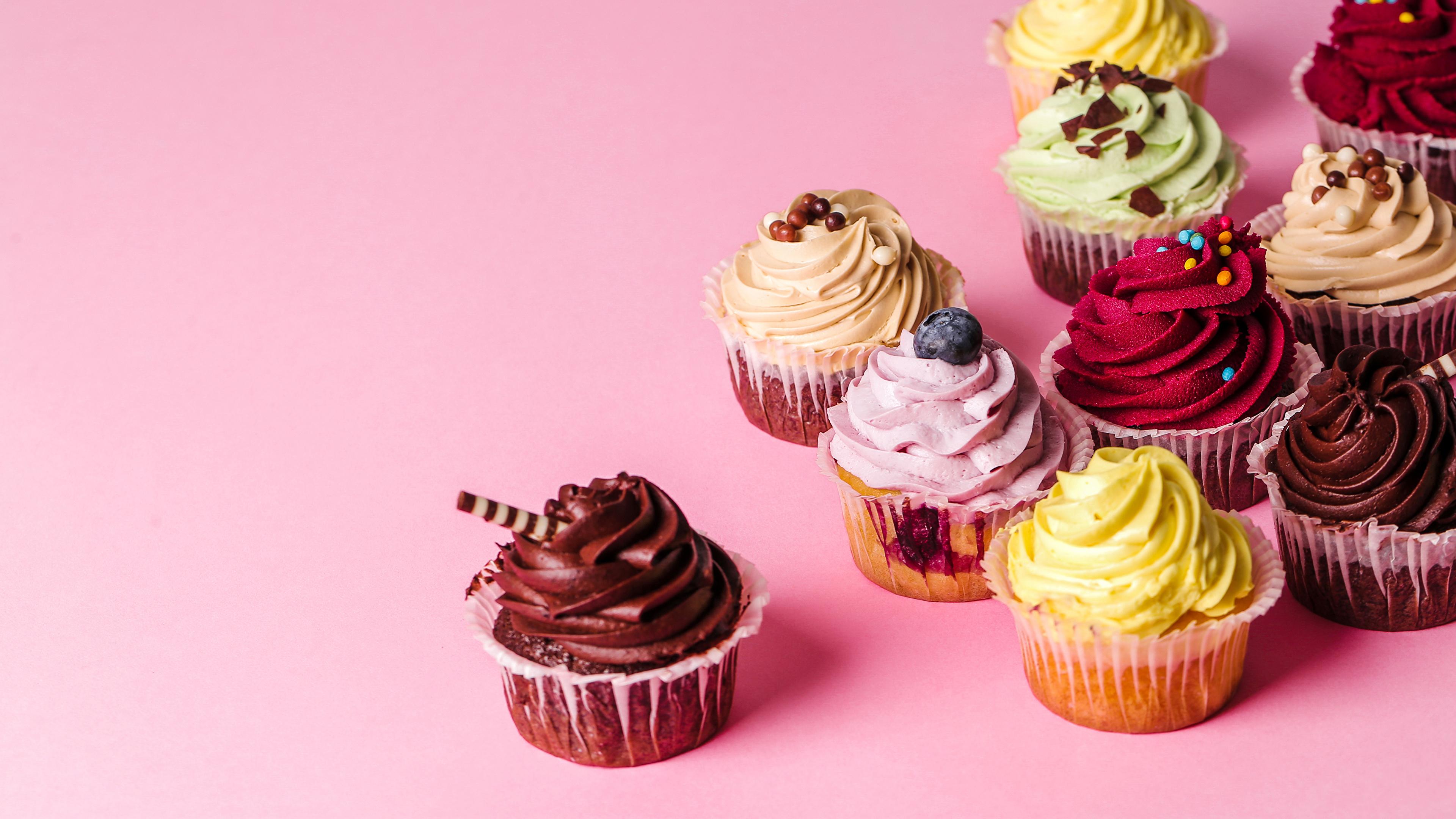 Bilder von Mehrfarbige Lebensmittel Törtchen Design Farbigen hintergrund 3840x2160 Bunte das Essen
