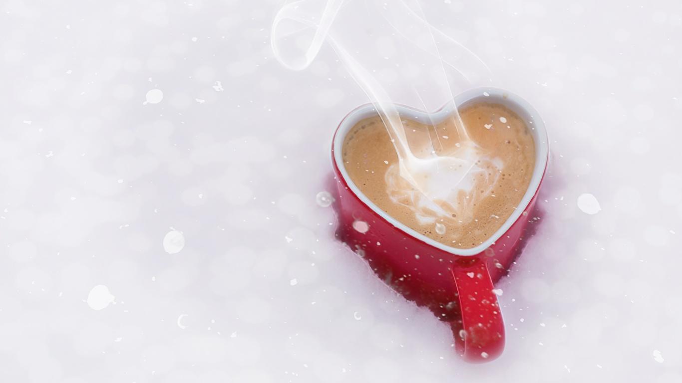 Photo Heart Coffee Mug Food Vapor 1366x768