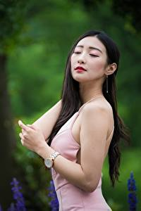 Bilder Asiatische Bokeh Pose Kleid Haar Brünette