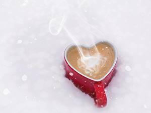 Fotos Kaffee Becher Herz Dampf