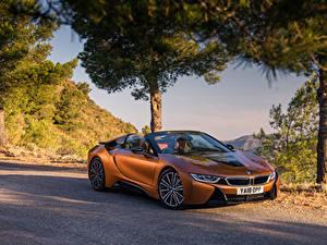 Wallpaper BMW Orange Roadster 2018 i8