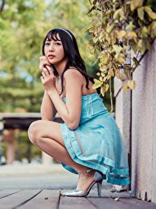 Fonds d'écran Asiatique Cheveux noirs Fille Assis Les robes Voir Arrière-plan flou Filles