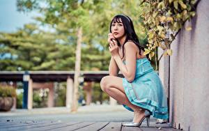 Tapety na pulpit Azjaci Brunetka Siedzą Sukienka Spojrzenie Rozmazane tło Dziewczyny