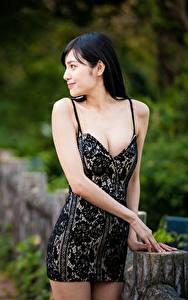 Hintergrundbilder Asiatische Bokeh Brünette Kleid Hand junge Frauen