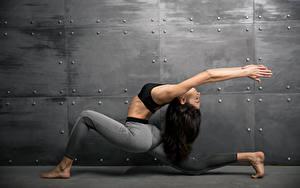 Fotos Fitness Gymnastik Braune Haare Körperliche Aktivität Hand Mädchens Sport