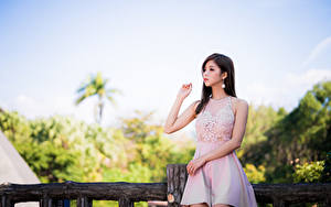 Bilder Asiaten Pose Kleid Hand Blick junge Frauen