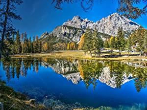 Wallpaper Mountains Lake Italy Alps Reflected Dolomites Lake Antorno Nature