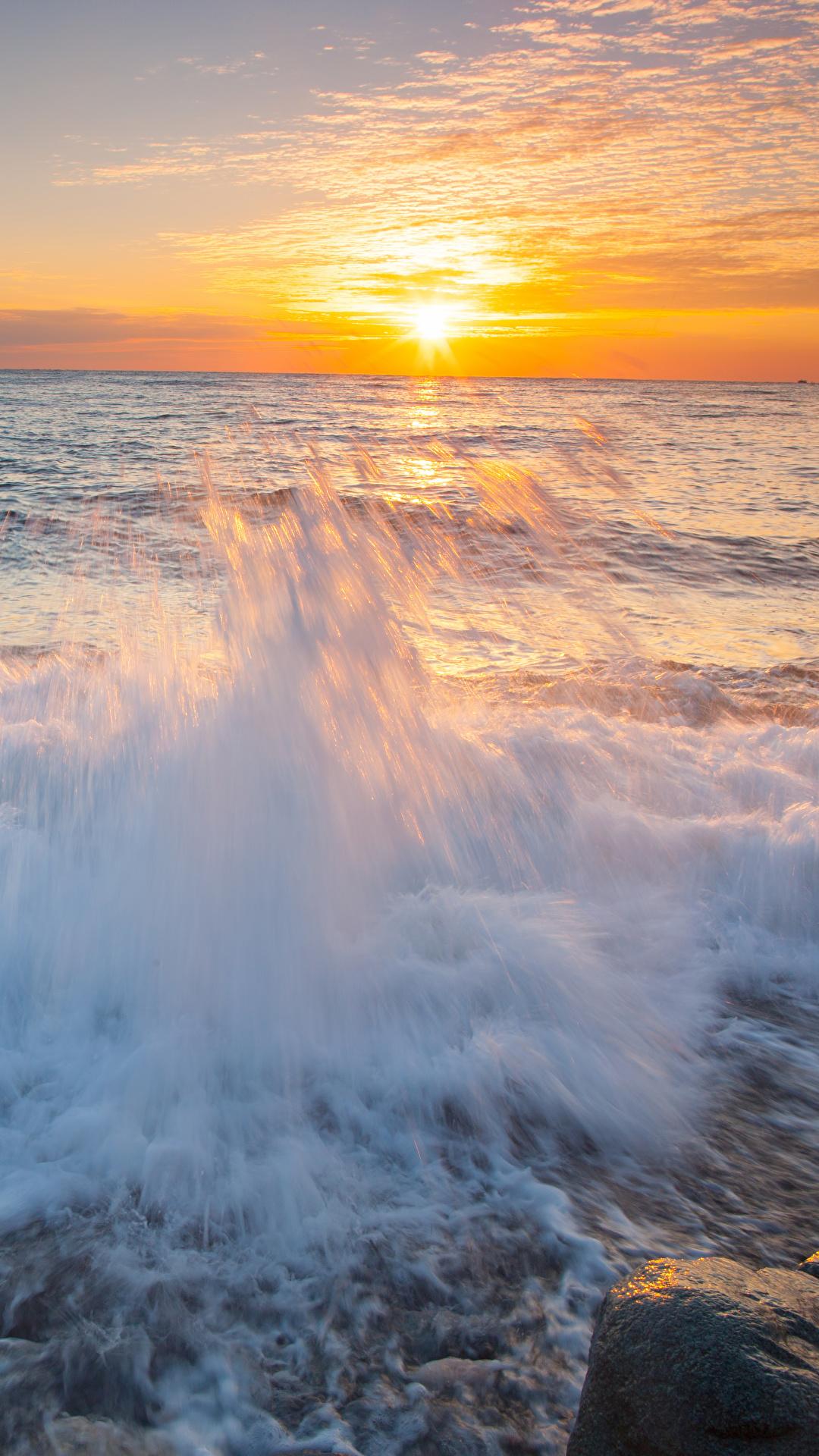 Bilder Meer Natur Sonne Himmel Wasserwelle Sonnenaufgänge und Sonnenuntergänge 1080x1920