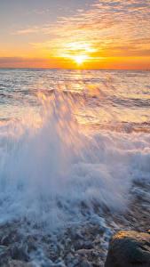 Bilder Meer Sonnenaufgänge und Sonnenuntergänge Wasserwelle Himmel Sonne Natur