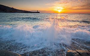 Bilder Meer Sonnenaufgänge und Sonnenuntergänge Wasserwelle Himmel Sonne