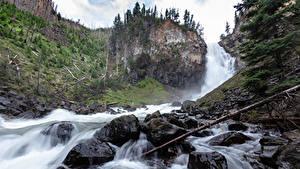 Hintergrundbilder Steine Wasserfall Park USA Felsen Yellowstone Wyoming Natur