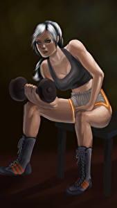 Hintergrundbilder Gezeichnet Fitness Hantel Sitzend Kopfhörer Bein Sport Mädchens
