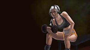 Hintergrundbilder Gezeichnet Fitness Hantel Sitzt Kopfhörer Bein sportliches Mädchens