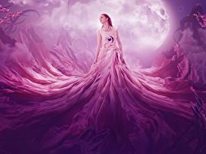 Hintergrundbilder Kleid Mond Rotschopf Fantasy Mädchens
