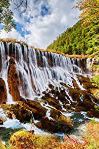 Sfondi desktop Valle del Jiuzhaigou Cina Parco Cascata Autunno Falesia Natura
