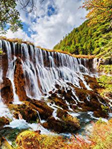 Hintergrundbilder Jiuzhaigou park China Park Wasserfall Herbst Felsen