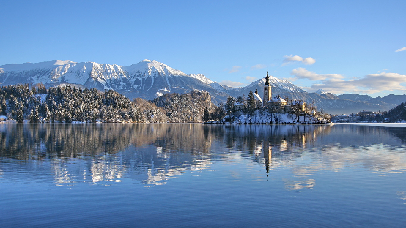 Photo Alps Slovenia Lake Bled Bled Castle Nature Winter