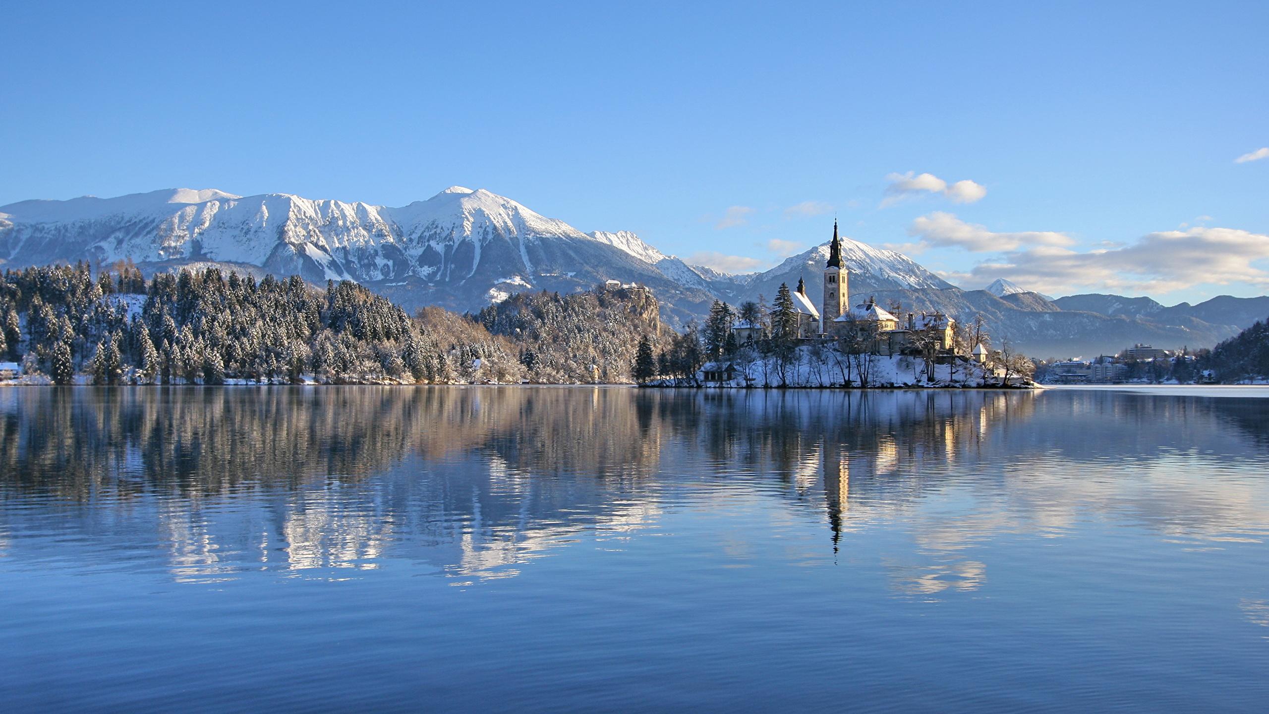 Photo Alps Slovenia Lake Bled Bled Castle Nature Winter