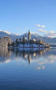 Fotos Slowenien See Berg Burg Winter Alpen Schnee Lake Bled, Bled castle