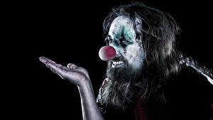 Pictures Men Black background Clown Hands Makeup Beard