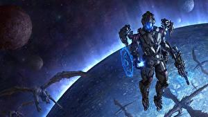 Bureaubladachtergronden Krijger Draken Planeten Chris Fox, Planet Strider Fantasy Ruimte