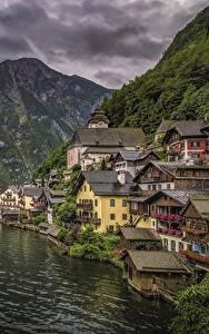 Hintergrundbilder Hallstatt Österreich Haus Berg See Schiffsanleger Städte