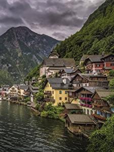 Hintergrundbilder Hallstatt Österreich Haus Berg See Schiffsanleger