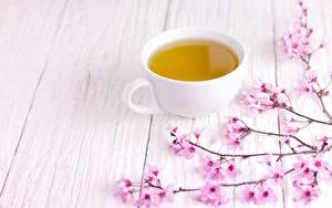 Papéis de parede Chá Chávena Sakura Tábuas de madeira Alimentos