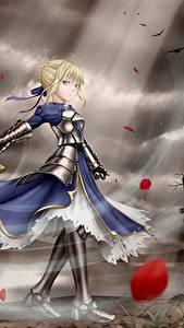 Pictures Fate: Stay Night Warriors Swords Frock Blonde girl Armor Anime Girls