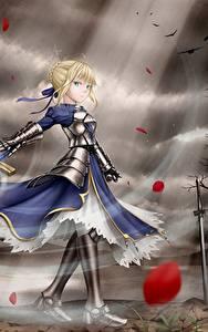 Papéis de parede Fate: Stay Night Guerreiro Espadas Vestido Cabelo loiro Meninas Armadura Anime Meninas