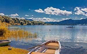 Wallpapers Lake Boats Landscape photography Germany Clouds Bavaria Lake Chiemsee, Chiemgau Nature