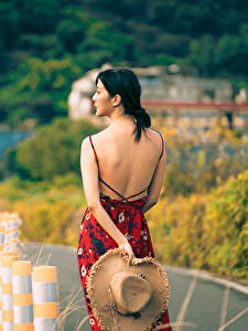 Bilder Asiaten Brünette Hinten Rücken Kleid Der Hut Unscharfer Hintergrund junge frau