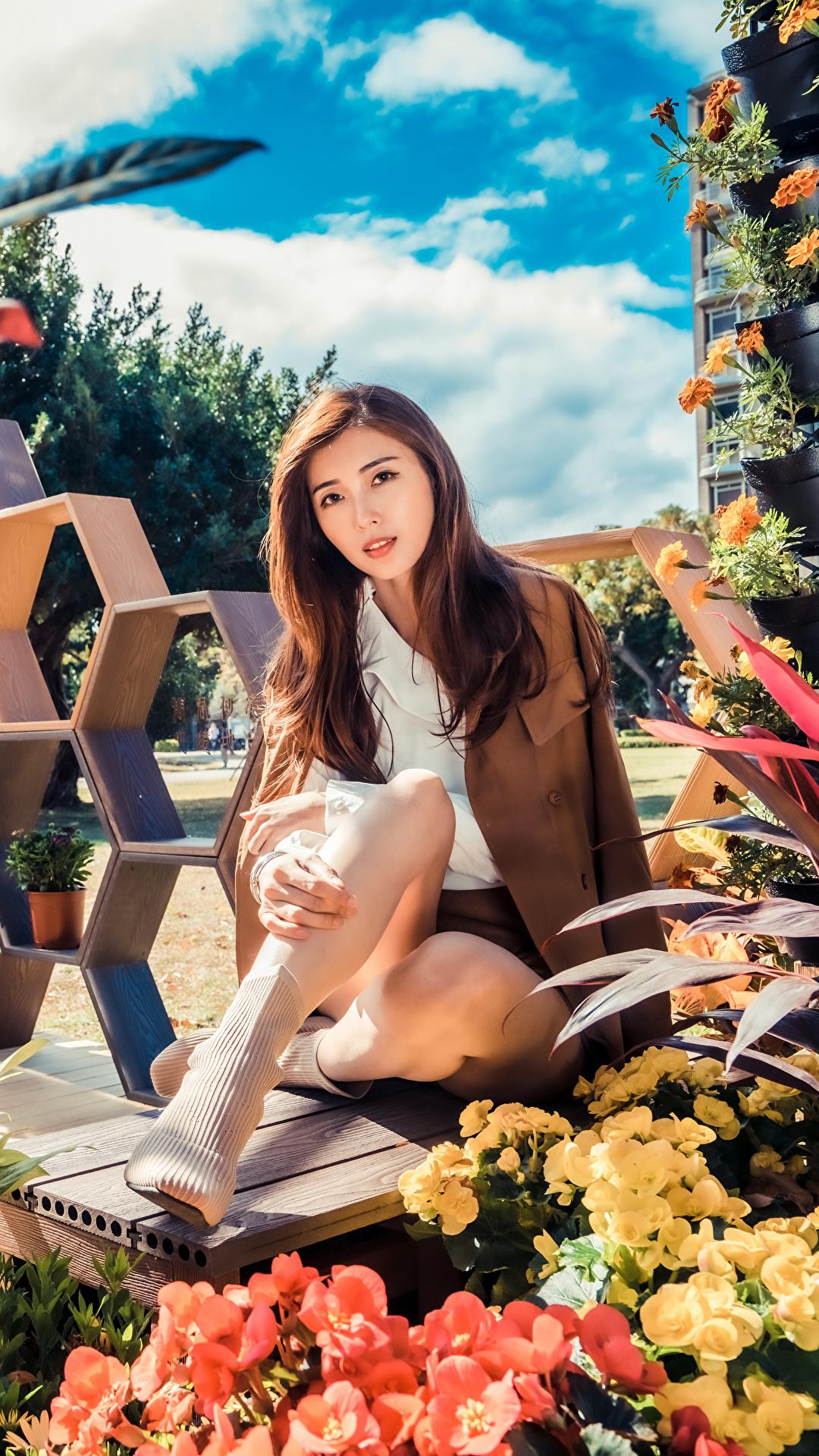 Foto Braune Haare junge frau Asiatische Sitzend Blick 1080x1920 für Handy Braunhaarige Mädchens junge Frauen Asiaten asiatisches sitzt sitzen Starren