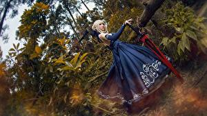 Picture Asian Frock Cosplayers Swords Blonde girl