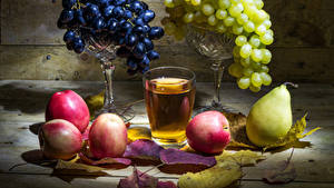 Images Grapes Still-life Pears Apples Juice Highball glass Leaf