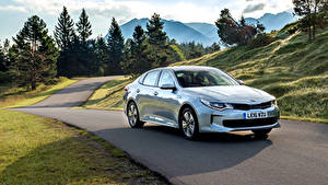 Bilder KIA Hellblau Metallisch Hybrid Autos 2016 Optima Plug-In Hybrid Autos